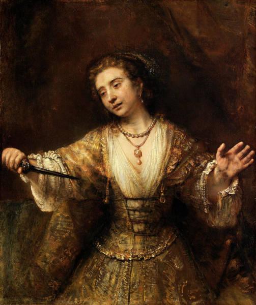 Wall Art - Painting - Rembrandt Van Rijn Dutch, 1606 - 1669, Lucretia by Quint Lox