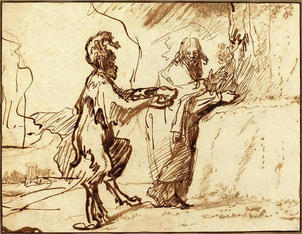 Wall Art - Drawing - Rembrandt Van Rijn, Dutch 1606-1669, Satan Tempting Christ by Litz Collection