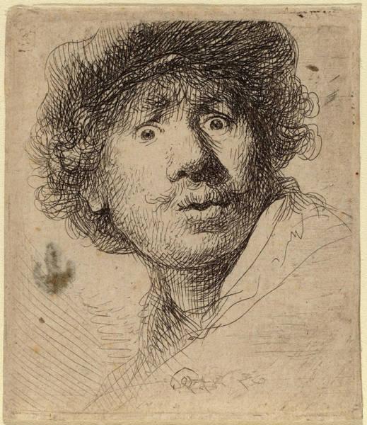 Wall Art - Drawing - Rembrandt Van Rijn Dutch, 1606 - 1669, Self-portrait by Quint Lox
