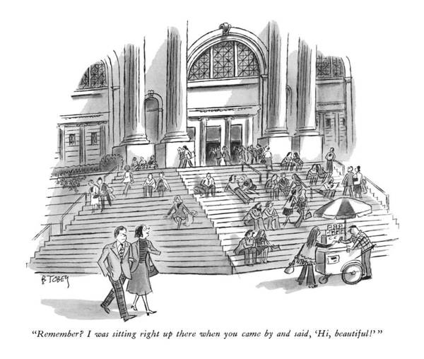 Metropolitan Museum Drawing - Remember? I Was Sitting Right Up There When by Barney Tobey