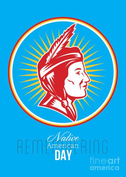 Indian Brave Digital Art - Remembering Native American Day Retro Poster Card by Aloysius Patrimonio