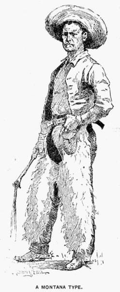 Montana Drawing - Remington Cowboy, 1887 by Granger