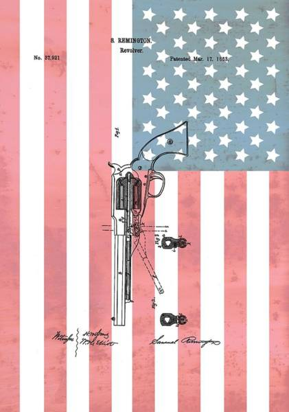 Digital Art - Remington Revolver Patent American Flag by Dan Sproul
