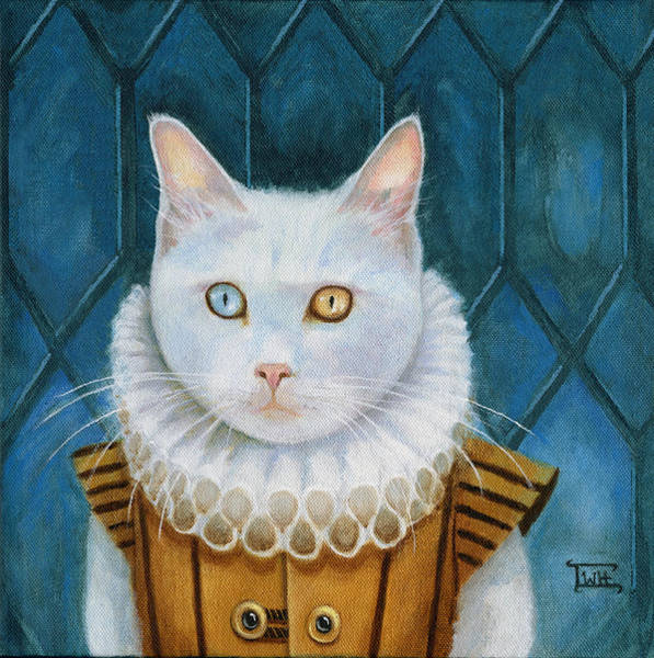 Leaded Glass Painting - Renaissance Cat by Terry Webb Harshman