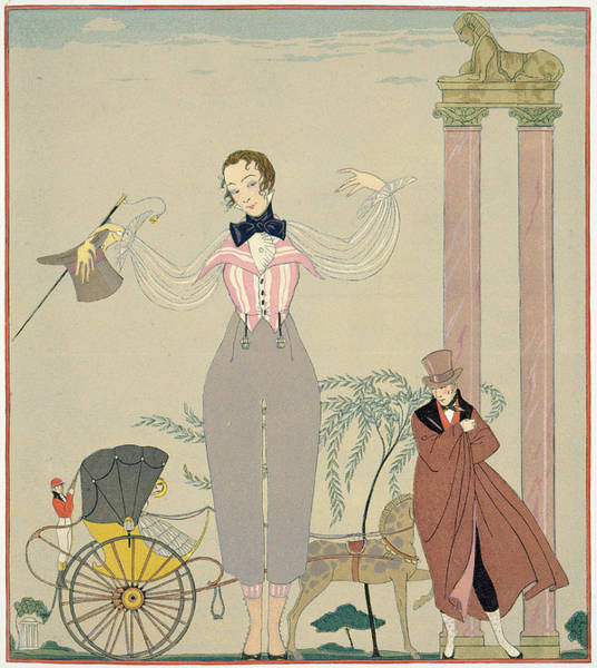 Carriage Painting - Rendez-vous  by Georges Barbier