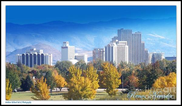 Harrahs Photograph - Reno Downtown Skyline by Bobbee Rickard