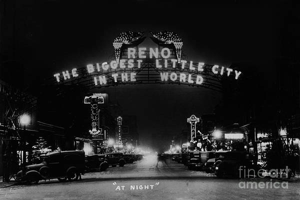 Photograph - Reno Nevada The Biggest Little City In The World. The Arch Spans Virginia Street Circa 1936 by California Views Archives Mr Pat Hathaway Archives