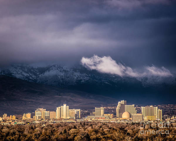 Harrahs Photograph - Reno Skyline Morning Cloud 16x20 by Janis Knight