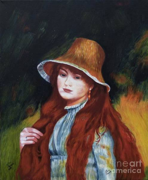 Painting - Renoir-young Girl In A Straw Hat by Alicia Fowler