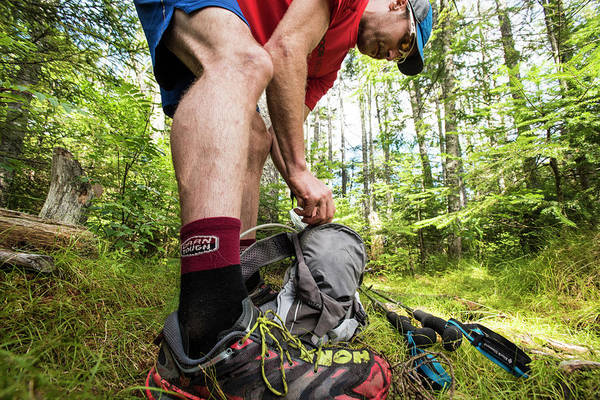 Franconia Notch State Park Photograph - Repacking On The Trail by Joe Klementovich