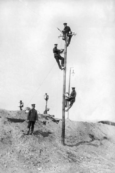 Photograph - Repairing Telegraph Lines by Underwood Archives