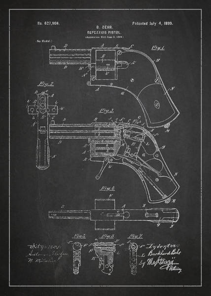Wall Art - Digital Art - Repeating Pistol Drawing From 1899 by Aged Pixel