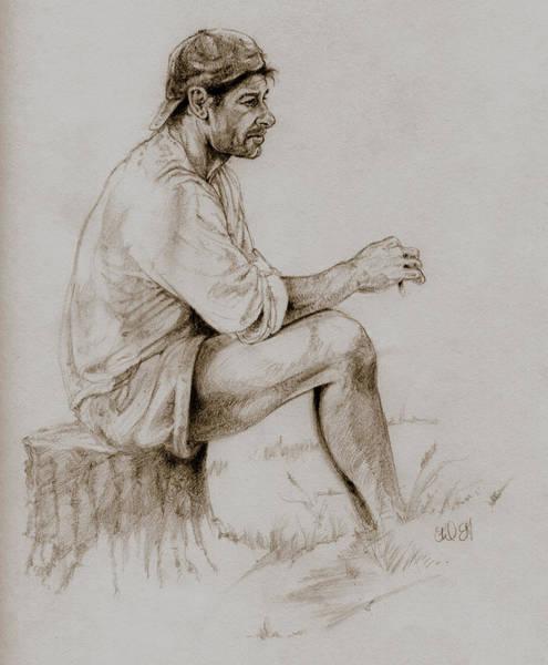 Lineart Drawing - Repose by Derrick Higgins