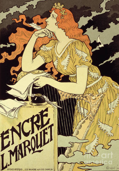 Writing Drawing - Reproduction Of A Poster Advertising 'marquet Ink' by Eugene Grasset