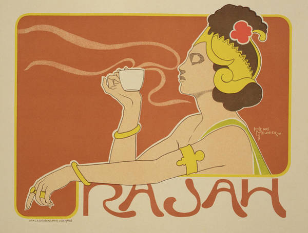Attractive Drawing - Reproduction Of A Poster Advertising The 'cafe Rajah' by Henri Georges Jean Isidore