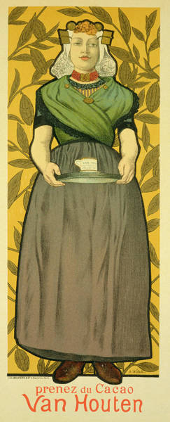 Waitress Wall Art - Painting - Reproduction Of A Poster Advertising Van Houten Cocoa by Adolphe Leon Willette