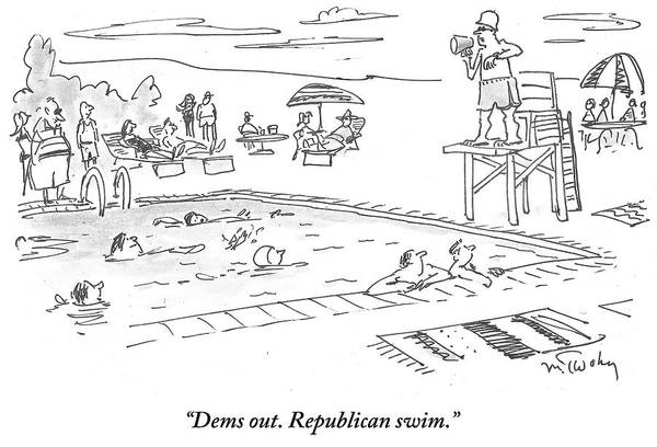 Democrats Drawing - Republicans Swim by Mike Twohy