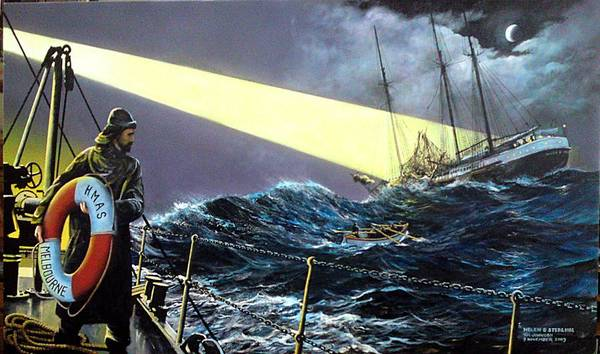 Painting - Rescue Of The Helen B.  Sterling 1922 by Tim Johnson