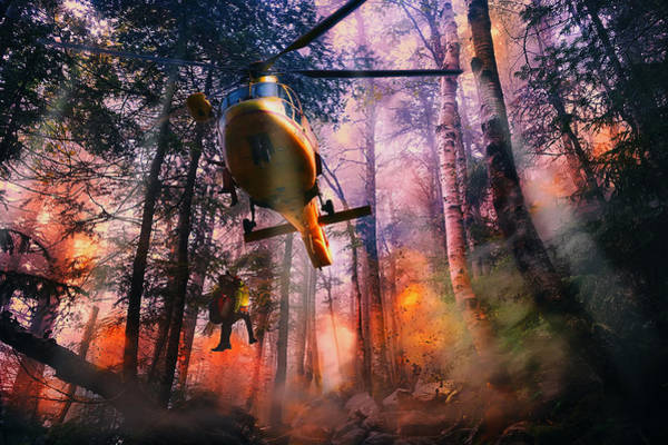 Copter Photograph - Rescued From Hell by Mountain Dreams