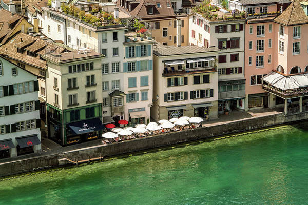 Zuerich Wall Art - Photograph - Residential†houses And River, Zurich by Tamboly Photodesign