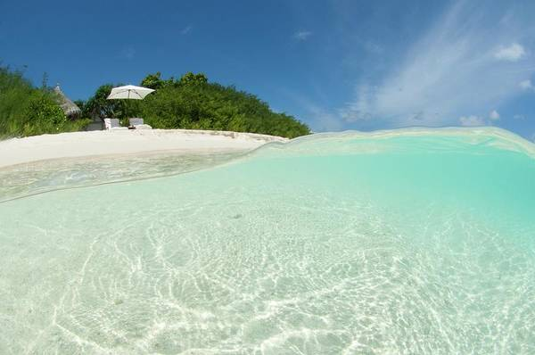 The Maldives Photograph - Resort Beach Front In The Maldives by Scubazoo