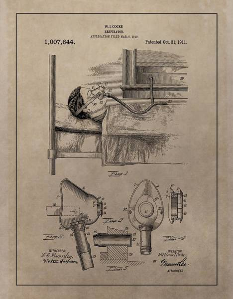 Mixed Media - Respirator Patent Illustration 1911 by Dan Sproul