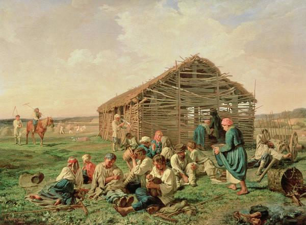 Feeding Painting - Rest During Haying by Aleksandr Ivanovich Morozov