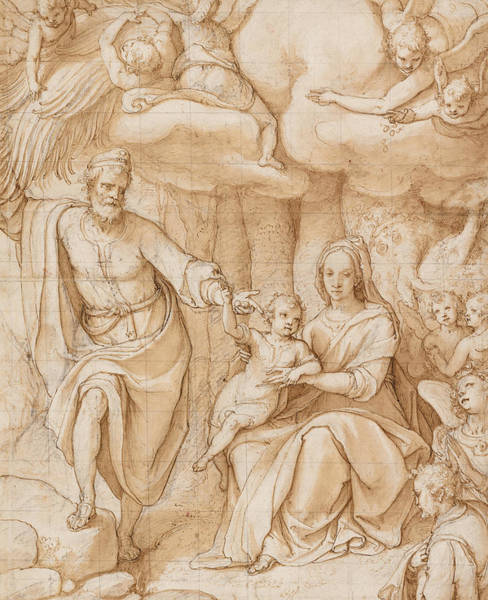 Madonna Drawing - Rest On The Flight Into Egypt by Federico Zuccaro
