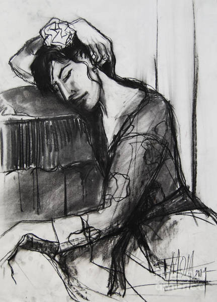 Model Drawing - Rest - Pia #8 - Figure Series by Mona Edulesco
