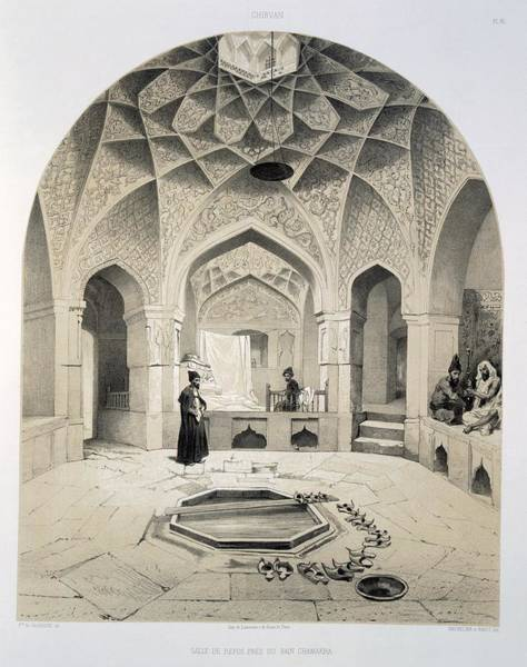 Oculus Wall Art - Drawing - Rest Room Beside The Baths At Shemakha by Grigori Grigorevich Gagarin