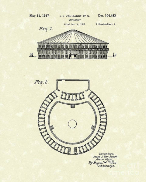 Drawing - Restaurant 1937 Patent Art by Prior Art Design