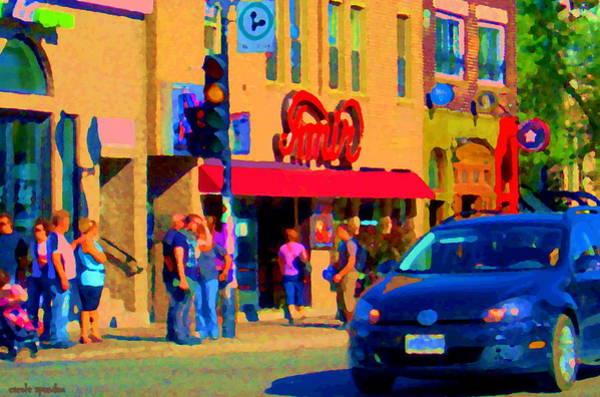 Painting - Restaurant Amir Internet Cafe Fast Food Plateau Montreal City Street Scene Art Carole Spandau  by Carole Spandau