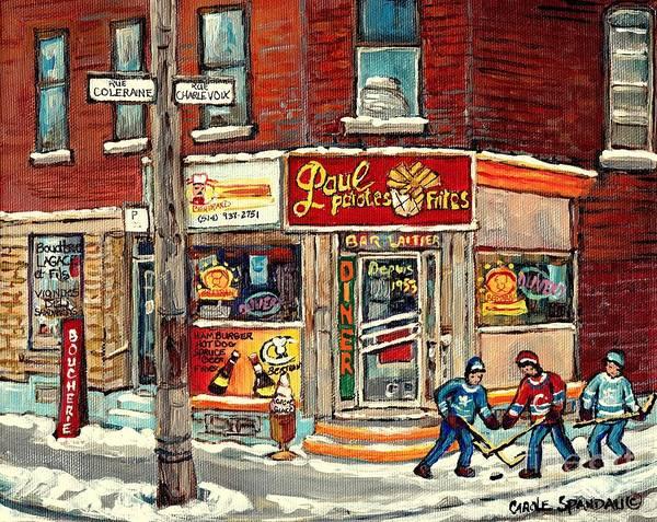 Pointe St Charles Painting - Restaurant Paul Patate Pte St Charles Montreal Verdun Paintings Hockey Art City Scenes Cspandau by Carole Spandau