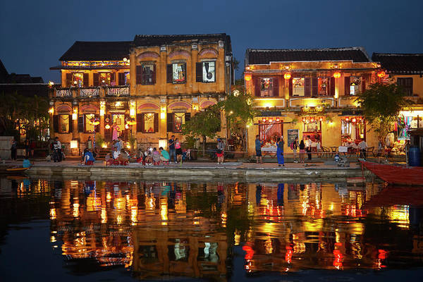 Hoi An Photograph - Restaurants And Tourists Reflected by David Wall