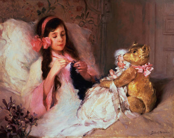 Teddy Bear Painting - Restful Company by Gabriel Nicolet