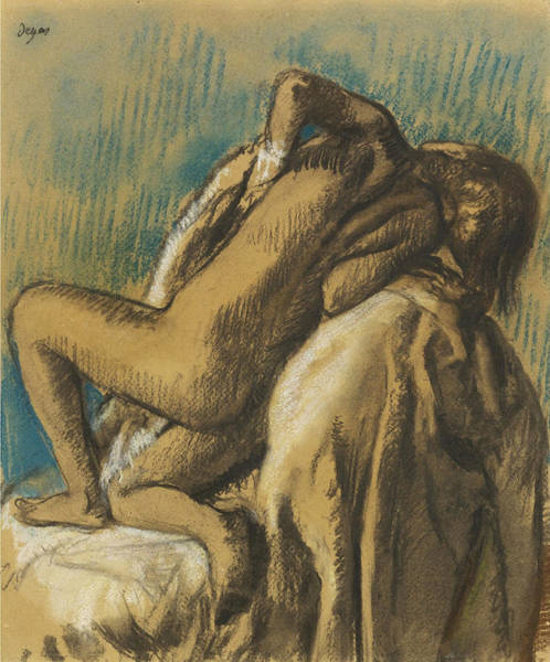 Impressionistic Drawing - Resting After The  Bath by Edgar Degas