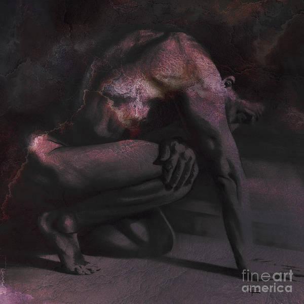 Crouching Digital Art - Resting Il. Textured. Sq by Paul Davenport