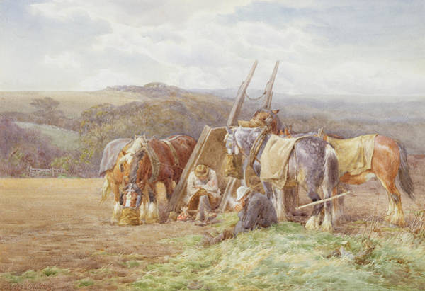 Plowing Painting - Resting In The Field  by Charles James Adams