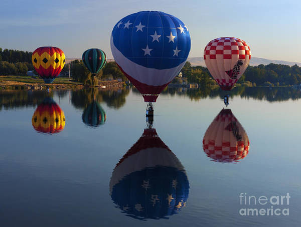 Hot Air Balloons Photograph - Resting On The Water by Mike  Dawson