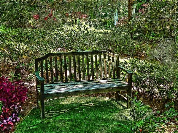 Park Bench Digital Art - Resting Place by Cary Shapiro