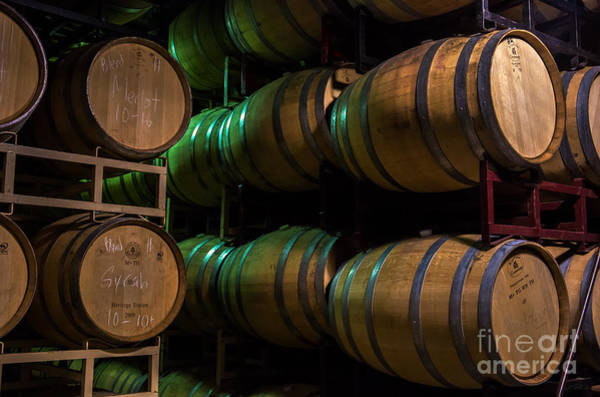 Wine Barrel Wall Art - Photograph - Resting Wine Barrels by Iris Richardson