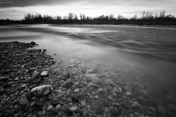 Greyscale Photograph - Restless River by Davorin Mance