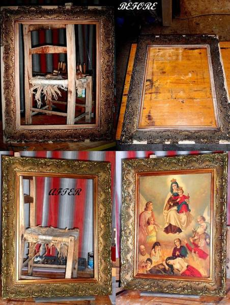 Baroque Mixed Media - Restoration Of An Old Frame Before And After by Donatella Muggianu