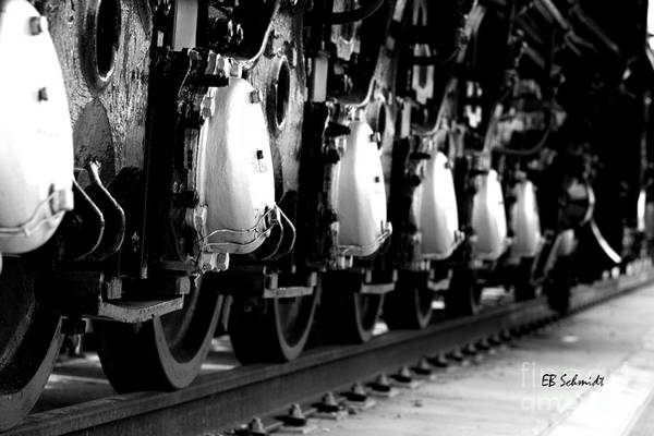 Photograph - Retired Machines 11 - Rail Wheels by E B Schmidt