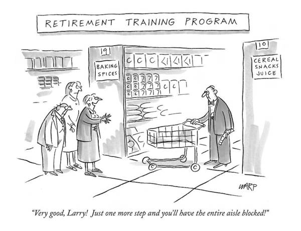 Cart Drawing - 'retirement Training Program' Very Good by Kim Warp