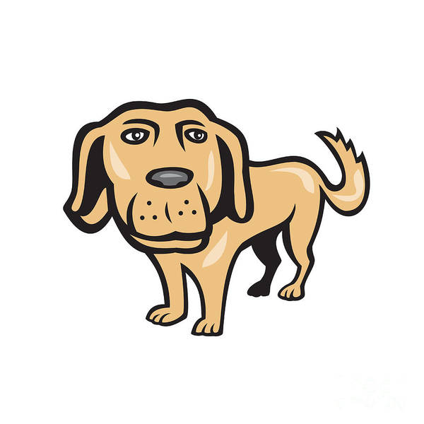 Golden Retriever Digital Art - Retriever Dog Big Head Isolated Cartoon by Aloysius Patrimonio