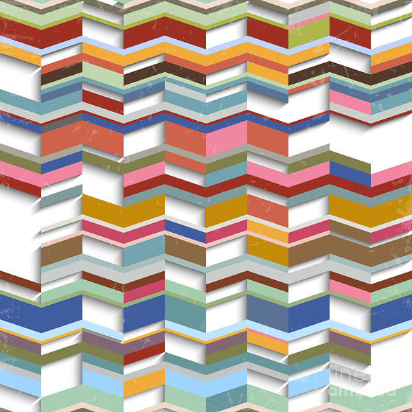 Digital Illustration Digital Art - Retro Abstract Geometric Background by A-r-t