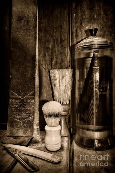 Moustache Photograph - Retro Barber Tools In Black And White by Paul Ward