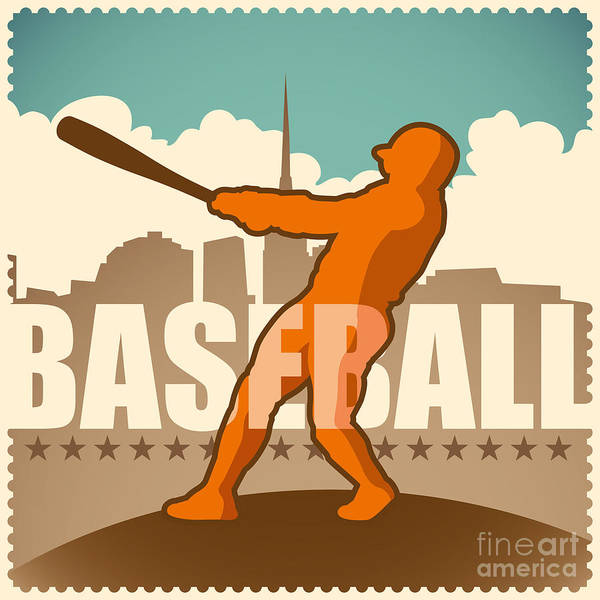 Hit Digital Art - Retro Baseball Poster. Vector by Radoman Durkovic
