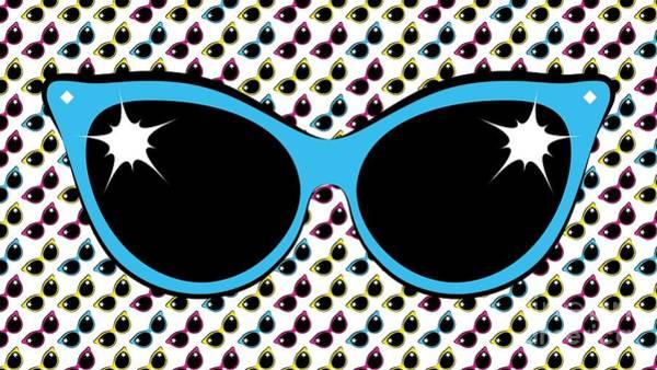 Digital Art - Retro Blue Cat Sunglasses by MM Anderson